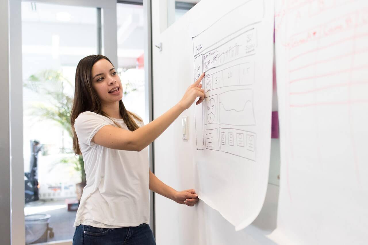図を見せながら説明する仕事中の女性